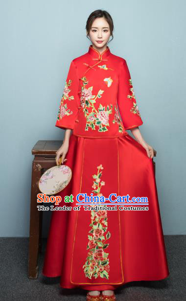 Chinese Ancient Wedding Costumes Bride Formal Dresses Embroidered Peony Butterfly XiuHe Suit for Women