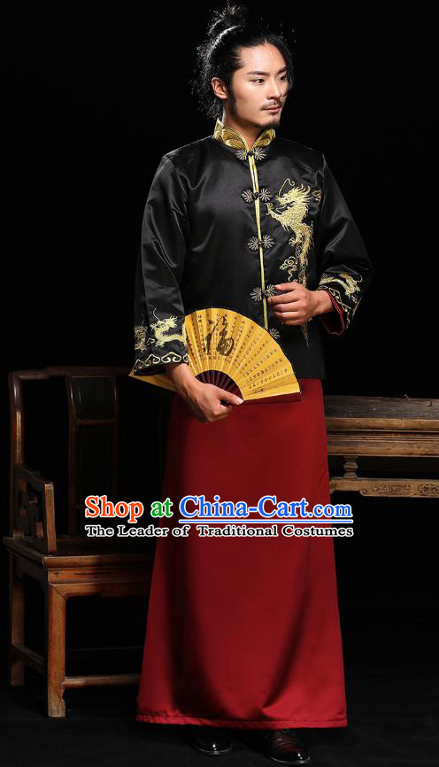 Traditional Ancient Chinese Wedding Costumes Bridegroom Embroidered Dragon Tang Suit for Men