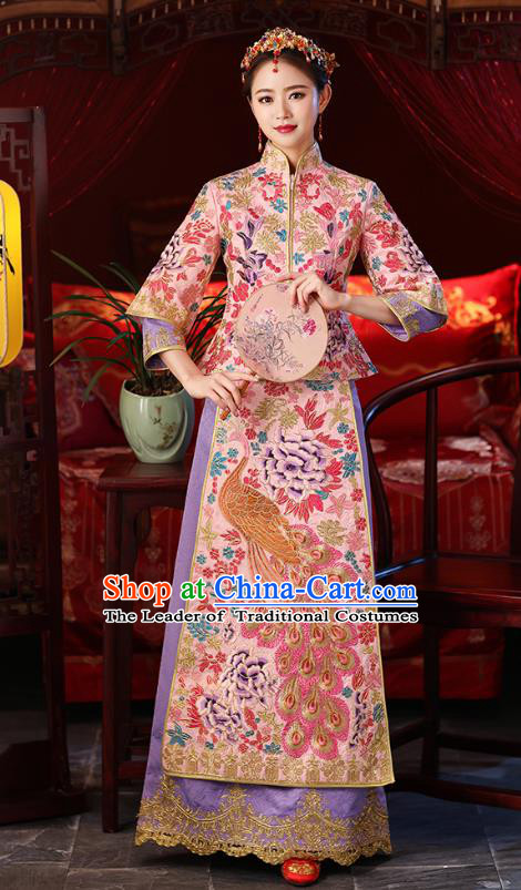 Chinese Ancient Embroidered Wedding Costumes Bride Formal Dresses Pink Toast Cheongsam XiuHe Suit for Women