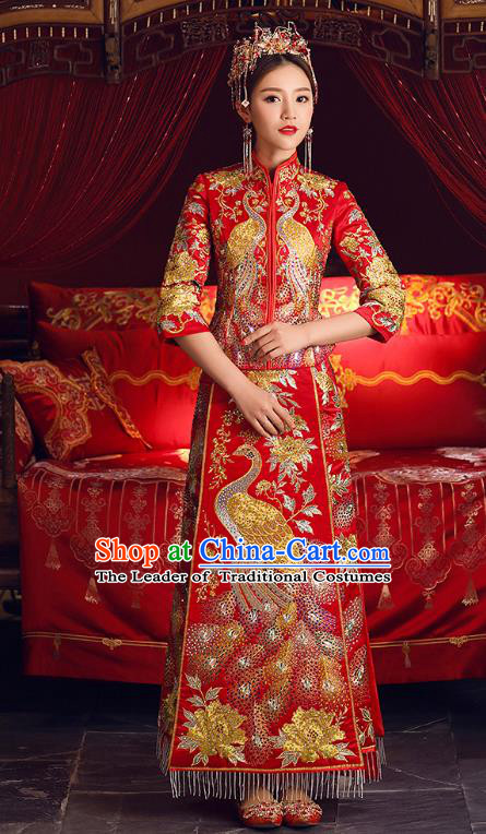 Chinese Ancient Bride Formal Dresses Cheongsam Embroidered Phoenix XiuHe Suit Traditional Wedding Costumes for Women