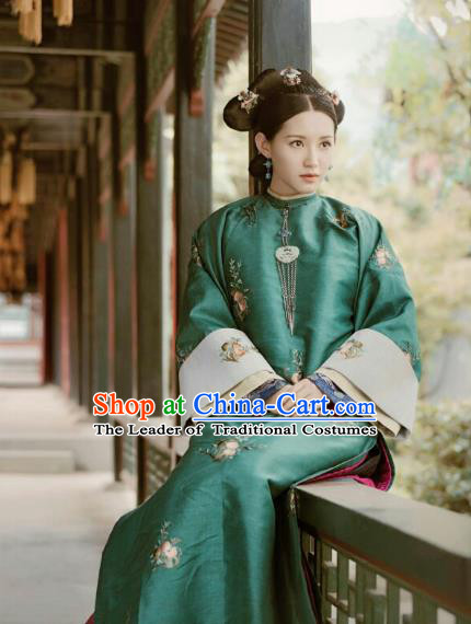 Chinese Ancient Drama Manchu Duchess Costume Story of Yanxi Palace Qing Dynasty Dowager Embroidered Clothing for Women