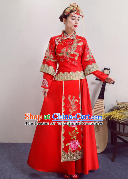 Chinese Ancient Wedding Costumes Bride Red Formal Dresses Embroidered XiuHe Suit for Women