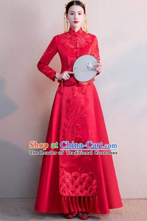 Chinese Ancient Wedding Costumes Bride Formal Dresses Embroidered Phoenix Longfenggua XiuHe Suit for Women