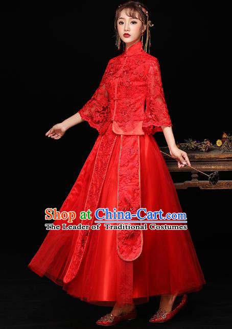Chinese Ancient Wedding Costumes Bride Red Lace Formal Dresses Embroidered Longfenggua XiuHe Suit for Women