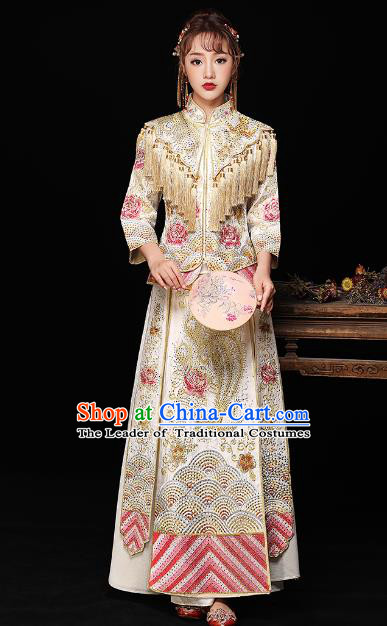 Chinese Ancient Bride Formal Dresses Wedding Costume Embroidered White Cheongsam XiuHe Suit for Women