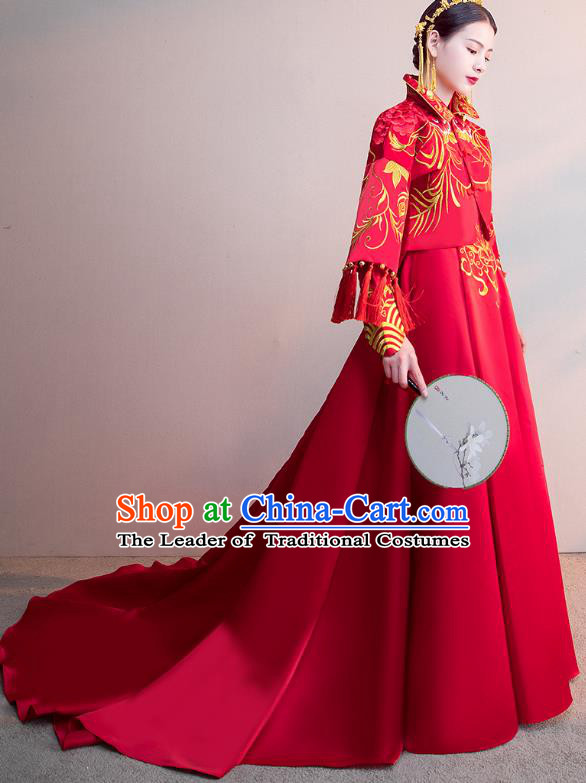 Chinese Ancient Bride Red Trailing Formal Dresses Wedding Costume Embroidered Cheongsam XiuHe Suit for Women