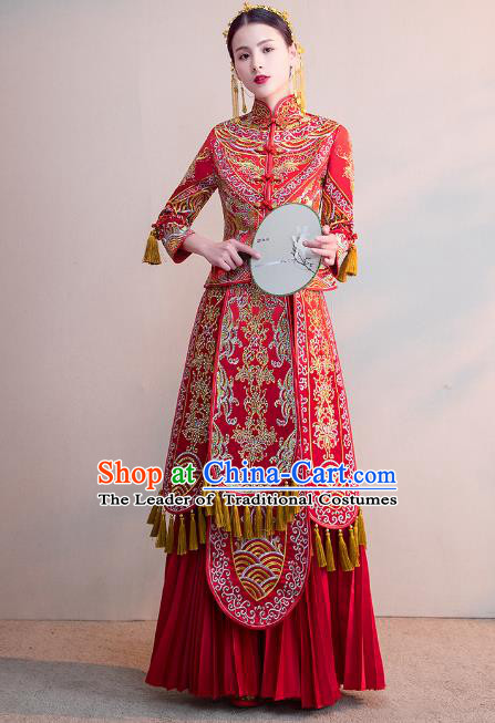 Chinese Ancient Bride Red Diamante Formal Dresses Wedding Costume Embroidered Cheongsam XiuHe Suit for Women