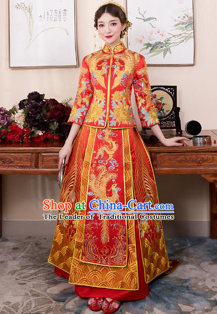 Chinese Ancient Bride Red Trailing Formal Dresses Wedding Costume Embroidered Phoenix Cheongsam XiuHe Suit for Women