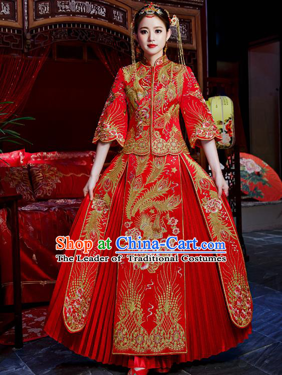 Top Grade Chinese Traditional Wedding Dress Ancient Bride Embroidered XiuHe Suit for Women