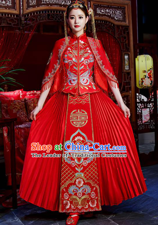 Top Grade Chinese Traditional Wedding Dress Ancient Bride Embroidered Butterfly XiuHe Suit for Women