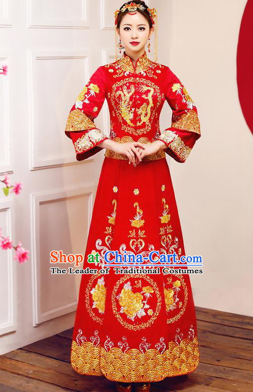 Top Grade Chinese Traditional Wedding Dress Ancient Bride Embroidered Dragon Phoenix XiuHe Suit for Women