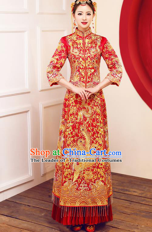 Top Grade Chinese Traditional Wedding Dress Ancient Bride Embroidered Diamante Phoenix XiuHe Suit for Women