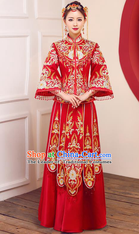Top Grade Chinese Traditional Wedding Dress Ancient Bride Embroidered Diamante Red XiuHe Suit for Women