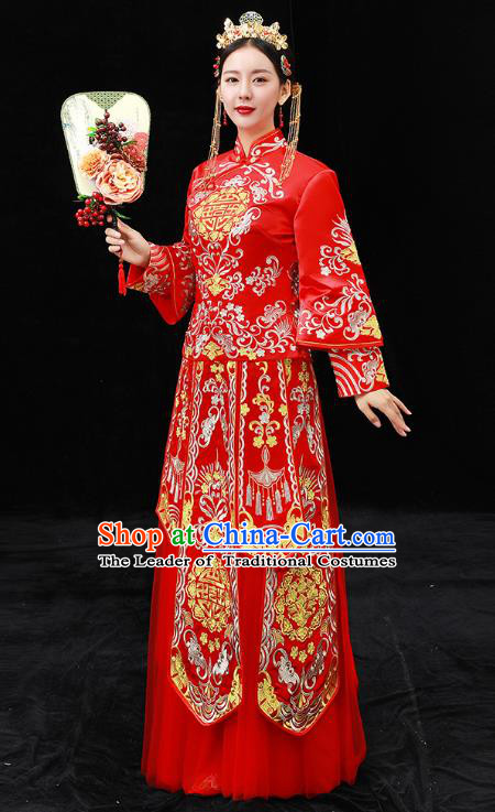 Chinese Ancient Bride Formal Dresses Xiuhe Suit Wedding Costume Embroidered Red Cheongsam for Women