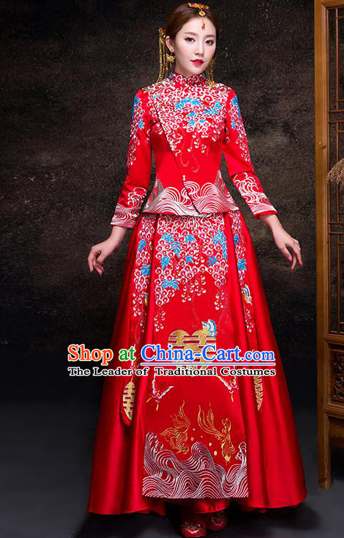 Top Grade Chinese Traditional Red Wedding Dress XiuHe Suit Ancient Bride Embroidered Cheongsam for Women