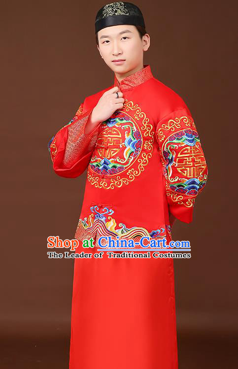 Ancient Chinese Wedding Toast Costumes Traditional Bridegroom Tang Suit Red Long Robe for Men