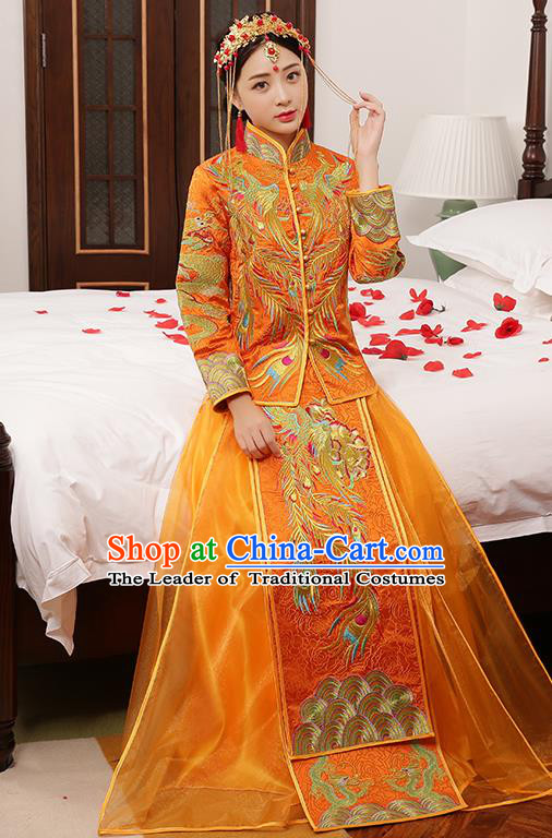 Chinese Traditional Embroidered Wedding Dress Golden XiuHe Suit Ancient Bride Cheongsam for Women