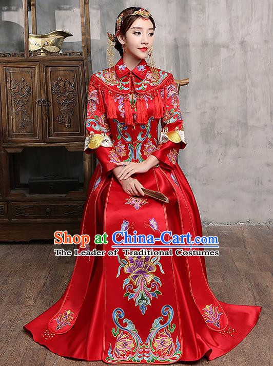 Chinese Traditional Embroidered Wedding Dress Red XiuHe Suit Ancient Bride Toast Cheongsam for Women