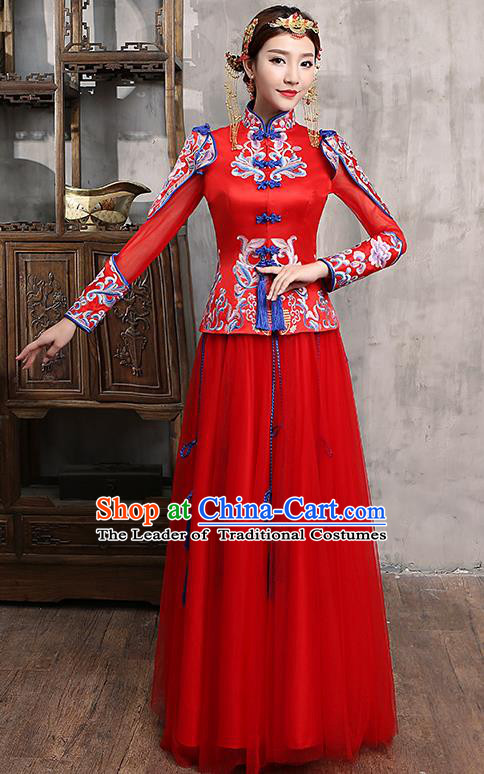 Chinese Traditional Wedding Dress Red XiuHe Suit Ancient Bride Embroidered Toast Cheongsam for Women