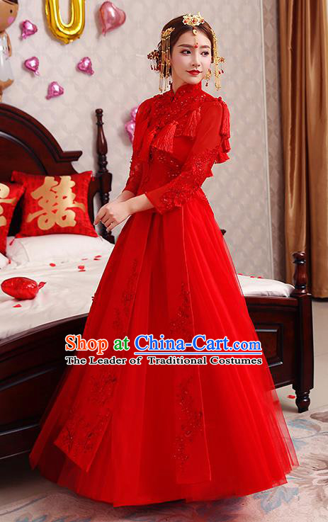 Chinese Traditional Wedding Costume Red Veil XiuHe Suit Ancient Bride Embroidered Toast Formal Dress for Women