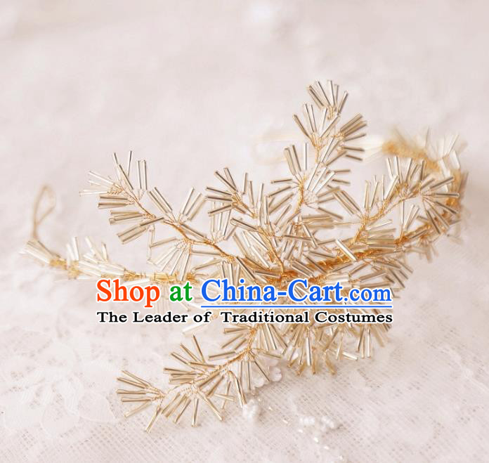 Top Grade Wedding Hair Accessories Bride Golden Beads Hair Clasp for Women
