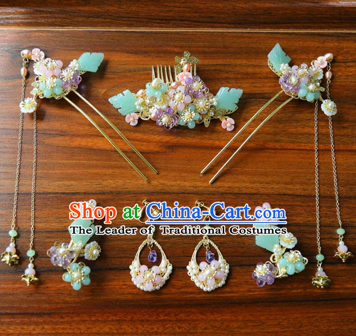 Top Grade Chinese Ancient Bride Hair Accessories Hairpins and Earrings Complete Set for Women