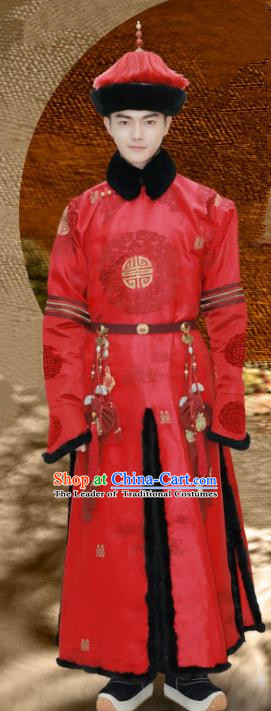 Story of Yanxi Palace Chinese Ancient Drama Qing Dynasty Manchu Nobility Childe Wedding Costumes and Hat Complete Set