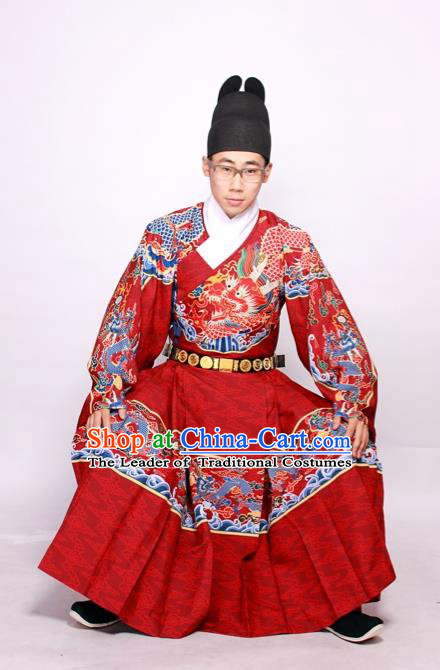 Chinese Ancient Ming Dynasty Imperial Bodyguard Costume Embroidered Red Robe for Men