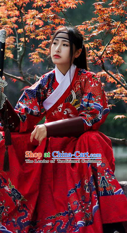 Chinese Ming Dynasty Imperial Bodyguard Costume Ancient Swordswoman Embroidered Red Robe for Women