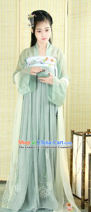 Chinese Tang Dynasty Court Maid Costume Ancient Palace Lady Embroidered Hanfu Dress for Women