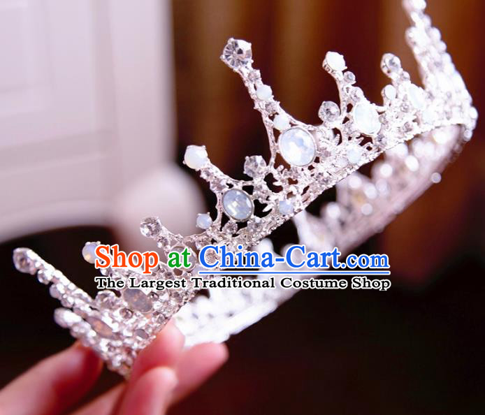 Top Grade Wedding Bride Hair Accessories Princess Hair Clasp Opal Royal Crown for Women