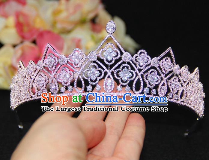 Top Grade Wedding Bride Hair Accessories Princess Zircon Hair Clasp Royal Crown for Women