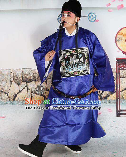 Professional Chinese Beijing Opera Costumes Peking Opera Sesame Official Blue Robe and Boots for Adults