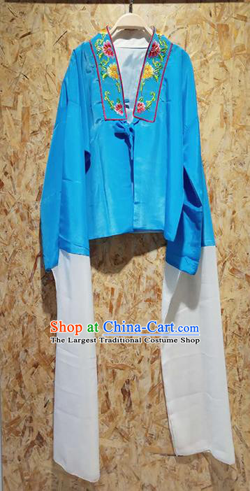 Professional Chinese Beijing Opera Costumes Ancient Peking Opera Actress Embroidered Water Sleeve Blue Blouse for Adults