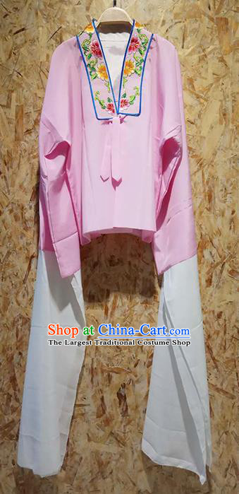 Professional Chinese Beijing Opera Costumes Ancient Peking Opera Actress Embroidered Water Sleeve Pink Blouse for Adults