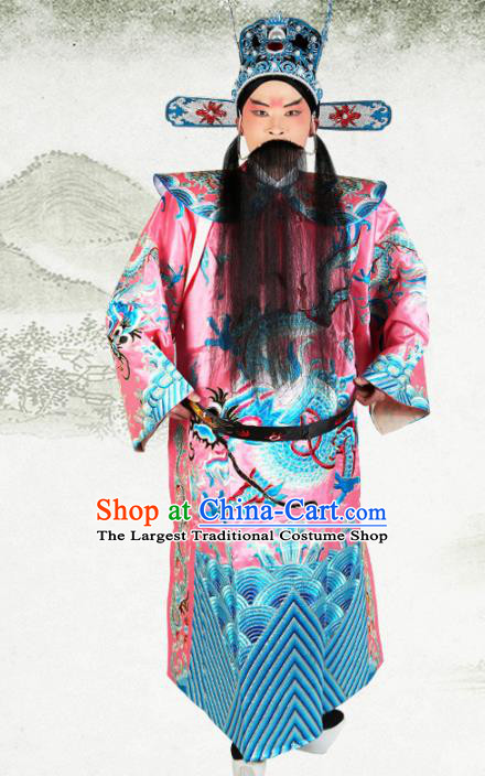 Professional Chinese Beijing Opera Costume Peking Opera Minister Pink Gwanbok Robe and Hat for Adults