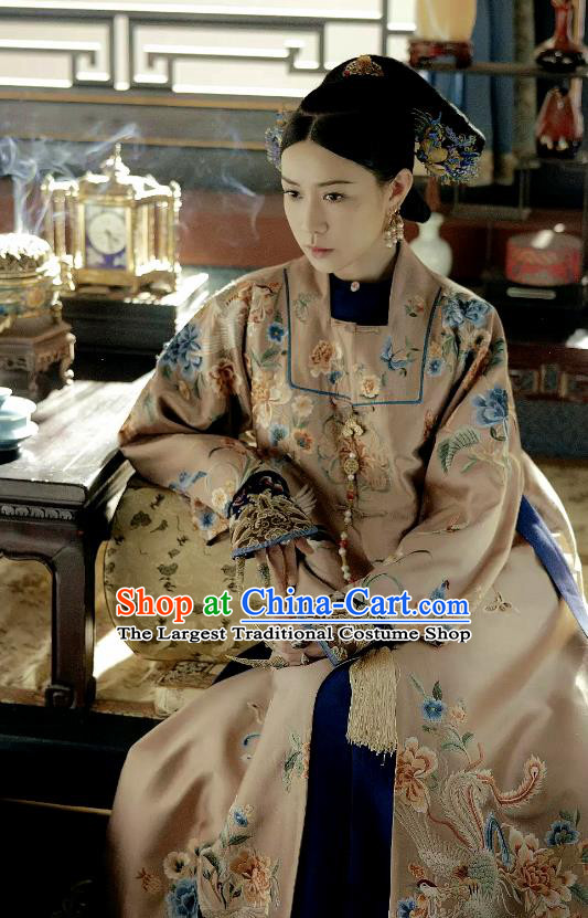Drama Story of Yanxi Palace Chinese Qing Dynasty Imperial Empress Embroidered Costumes and Headpiece Complete Set