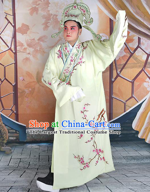 Professional Chinese Peking Opera Niche Costume Traditional Peking Opera Plum Blossom Yellow Robe and Hat for Adults