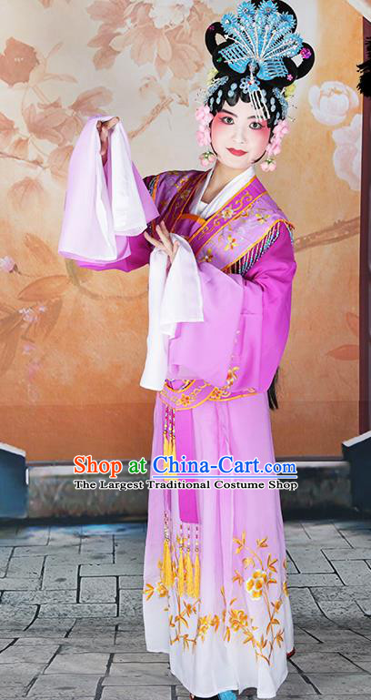 Professional Chinese Beijing Opera Diva Embroidered Costumes Peking Opera Fairy Purple Dress for Adults