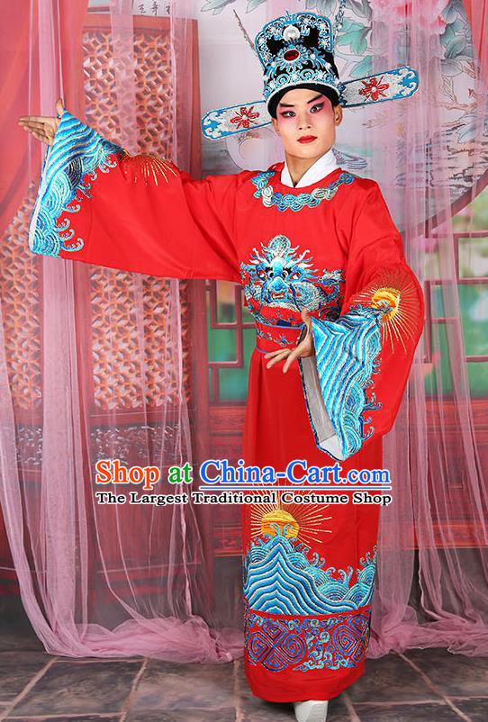 Professional Chinese Peking Opera Costume Traditional Peking Opera Minister Red Robe for Adults