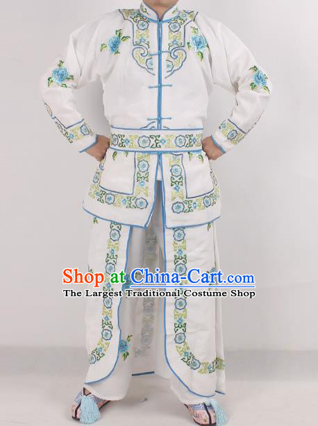Chinese Peking Opera Female Warrior White Costume Ancient Swordswoman Embroidered Clothing for Adults