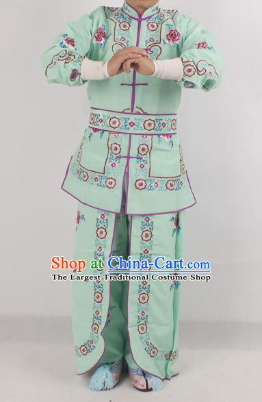 Chinese Peking Opera Female Warrior Green Costume Ancient Swordswoman Embroidered Clothing for Adults