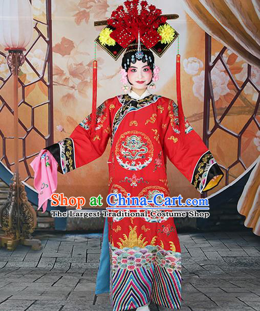 Professional Chinese Beijing Opera Qing Dynasty Empress Embroidered Red Costumes and Headwear for Adults