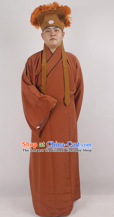Professional Chinese Peking Opera Niche Costume Beijing Opera Scholar Brown Robe and Hat for Adults