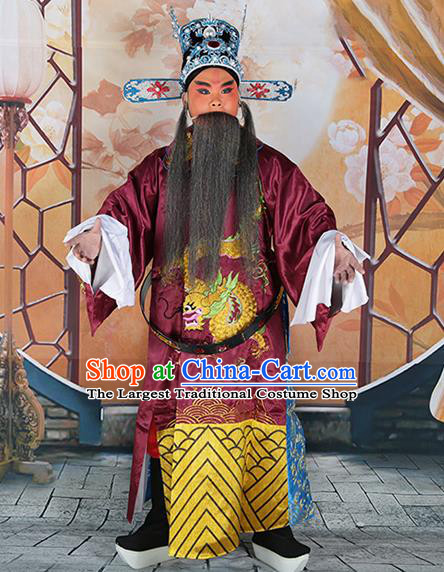 Professional Chinese Peking Opera Old Gentleman Costume Embroidered Robe and Hat for Adults