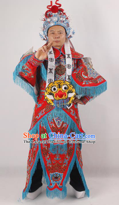 Professional Chinese Peking Opera General Red Embroidered Costume Beijing Opera Takefu Clothing and Hat for Adults