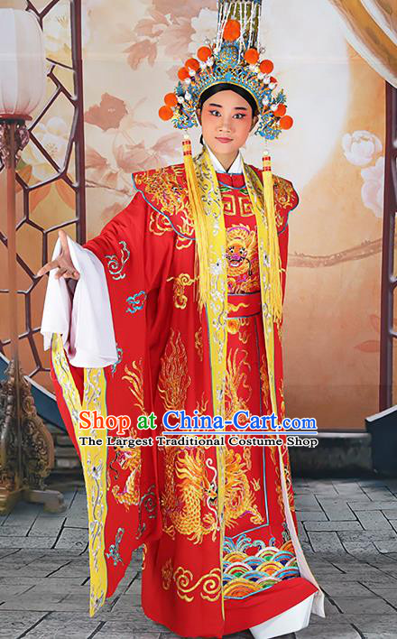 Professional Chinese Peking Opera Emperor Red Costume and Hat for Adults