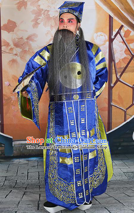 Professional Chinese Peking Opera Military Counsellor Costume Blue Priest Robe and Hat for Adults