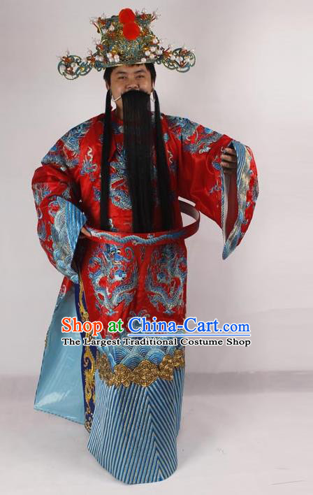 Professional Chinese Peking Opera Old Men Costume Prime Minister Red Embroidered Robe for Adults