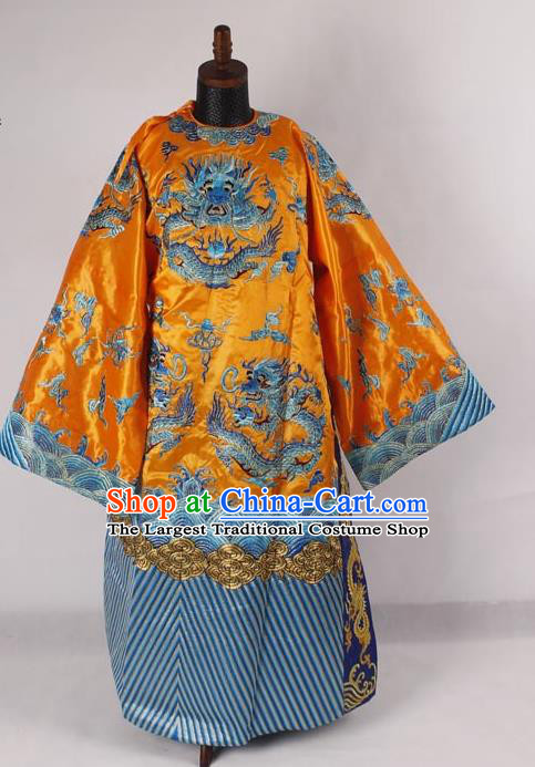Professional Chinese Peking Opera Old Men Costume Prime Minister Yellow Embroidered Robe for Adults